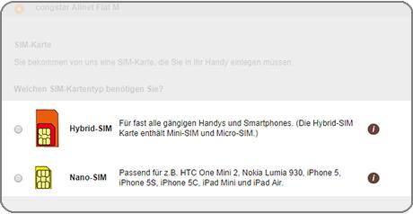Bildschirmfoto von der SIM-Karten-Auswahl im Bestellprozess