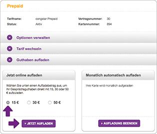 prepaid karte online aufladen per lastschrift